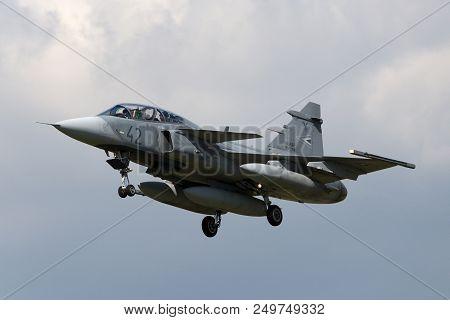 Raf Fairford, Gloucestershire, Uk - July 11, 2014: Hungarian Air Force (magyar Legiero) Saab Jas-39d
