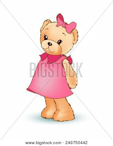 Modest Female Teddy Bear Wearing Pink Dress And Bow On Its Head, Shy Fluffy Toy, Poster And Image Ve