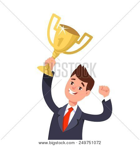 Successful Businessman Celebrating Success. Happy Winner Businessperson Holding In The Raised Hand O