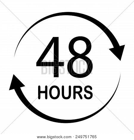 48 Hours On White Background. Flat Style. 48 Hours Sign. 48 Hours For Your Web Site Design, Logo, Ap
