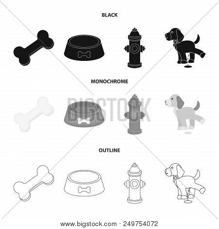 A Bone, A Fire Hydrant, A Bowl Of Food, A Pissing Dog.dog Set Collection Icons In Black, Monochrome,