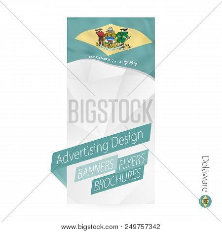 Vector Abstract Banner Template For Us State Delaware. Advertising Template With Flag Of Delaware.