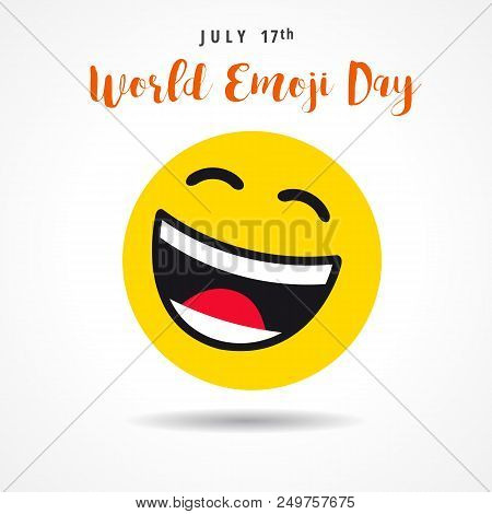 World Emoji Day With Big Smiling Emoticon, July 17th. Happy Yellow Smiley In A Flat Design And Lette
