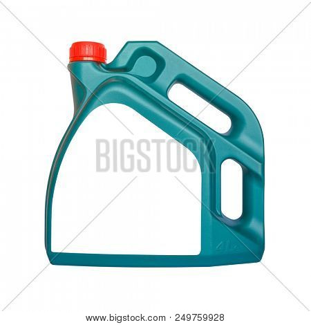 Car Engine Oil Canister with White Blank Label Isolated on White Backgriound. Machine Oil 4 Litre Plastic Can.