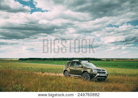 Gomel, Belarus - June 13, 2018: Renault Duster Or Dacia Duster Suv In Summer Meadow Landscape. Duste