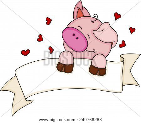 Scalable Vectorial Representing A Happy Pig With Blank Banner And Hearts, Element For Design, Illust