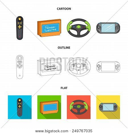 Game Console And Joystick Cartoon, Outline, Flat Icons In Set Collection For Design.game Gadgets Vec