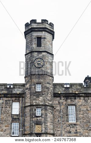 Edinburgh, Scotland - April 2018: Clock Tower Of The Royal Palace Located At The Crown Square Inside