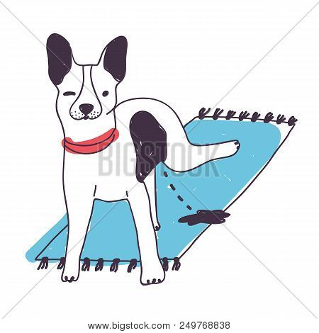 Cute nasty dog peeing on carpet isolated on white background. Funny puppy or doggy urinating at home. Pet pissing in house. Bad habit of domestic animal. Colored hand drawn vector illustration poster