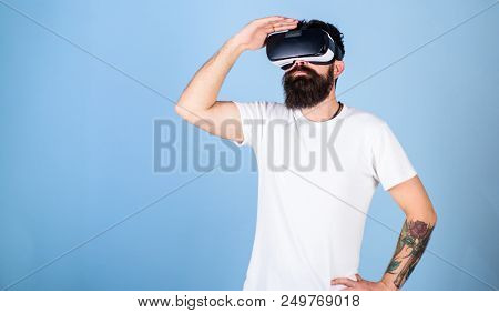 Hipster On Busy Face Exploring Virtual Reality With Gadget. Interactive Surface Concept. Guy With He