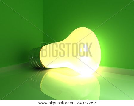 bright light bulb on the green background