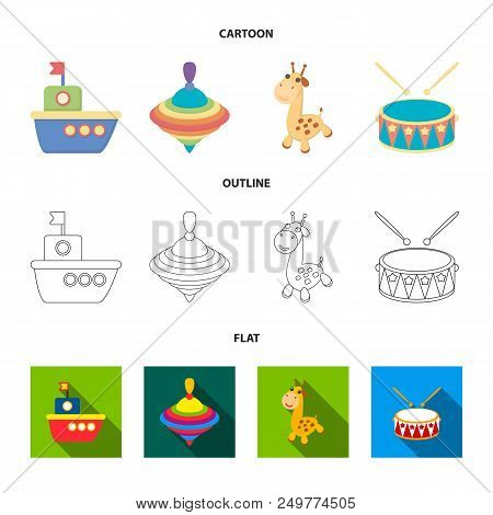 Ship, Yule, Giraffe, Drum.toys Set Collection Icons In Cartoon, Outline, Flat Style Vector Symbol St