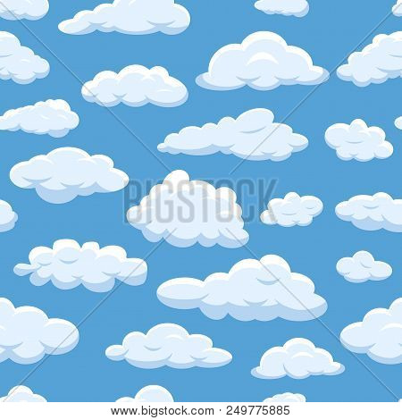 Clouds Seamless Pattern On Blue Sky Background Cloudy Bright Vector Cloudscape. Nature Air Weather F