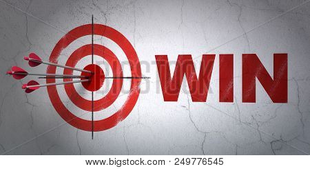 Success Finance Concept: Arrows Hitting The Center Of Target, Red Win On Wall Background, 3d Renderi
