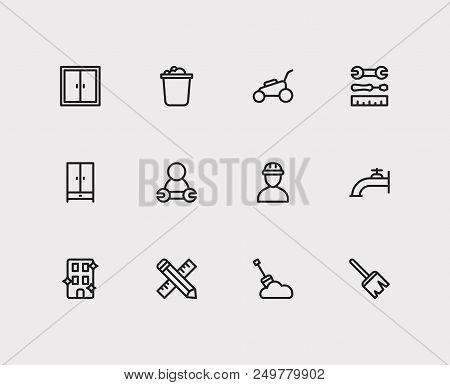 Housework Icons Set. Water Crane And Housework Icons With Window, Instrument And Clean Office. Set O