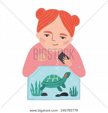 Young Smiling Redhead Woman Or Girl Feeding Her Turtle, Tortoise Or Terrapin Living In Terrarium. Ad
