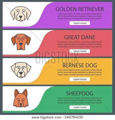 Dogs Breeds Web Banner Templates Set. Website Color Menu Items. Golden Retriever, Great Dane, Bernes