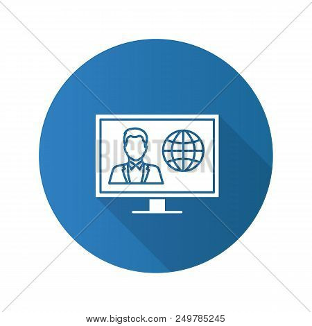 Tv News Flat Design Long Shadow Glyph Icon. Newscaster On Television Set Display. Vector Silhouette