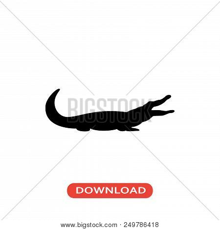 Crocodile Vector Icon Flat Style Illustration For Web, Mobile, Logo, Application And Graphic Design.