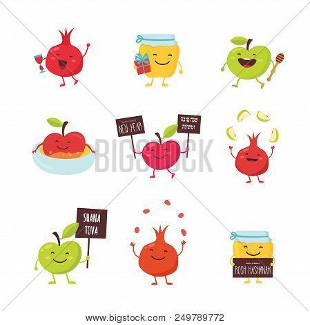 Rosh Hashanah Jewish Holiday Banner Design With Honey Jar, Apple And Pomegranate Funny Cartoon Chara
