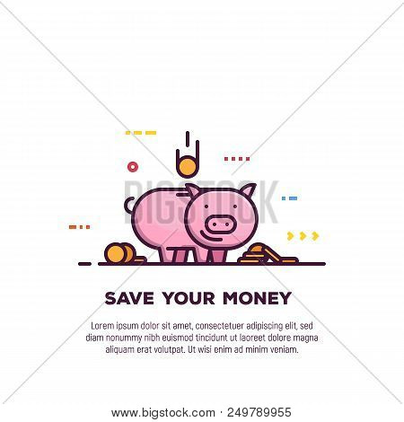 Piggy Money Savings Line Style Banner. Bank And Investment, Save Your Money Banner. Golden Coins And