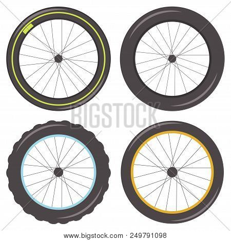 Bicycle Wheel With Spokes Of Different Types: Sporty, Fat, Studded And Classic Tire. Vector Set Of I