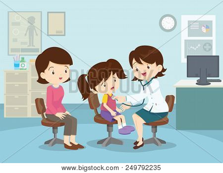 Mom And Girl To See Doctor Sitting At The Table In Hospital, Infirmary, Clinic.healthcare Concept.ch