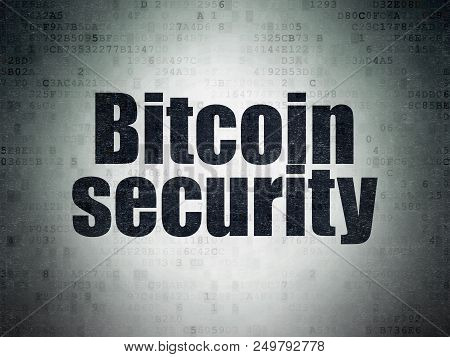 Blockchain Concept: Painted Black Word Bitcoin Security On Digital Data Paper Background