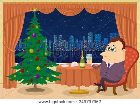Respectable Gentleman Sitting Near Table And Celebrating Christmas In Restaurant With Firtree And Vi