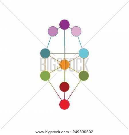Colorful Geometrical Figure. Sacred Geomatry Tree Of Life Element Vector Illustration.