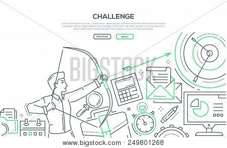 Challenge - Modern Line Design Style Illustration On White Background With Place For Your Informatio