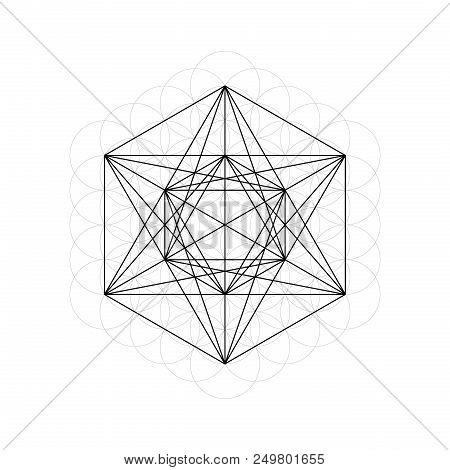 Geometrical Figures. Sacred Geometry Davids Star And Flower Of Life Vector Illustration