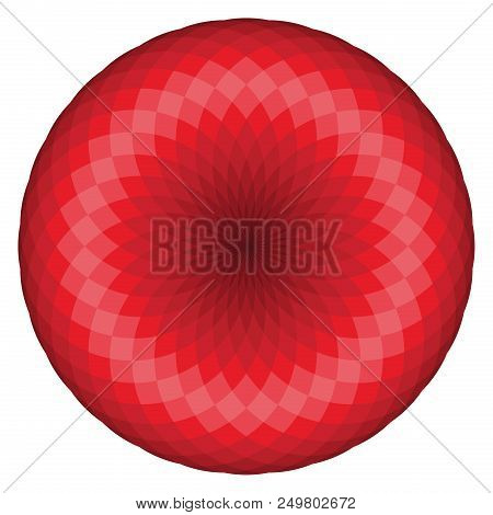 Colorful Geometrical Figure On Red Tones. Sacred Geometry Torus Yantra Or Hypnotic Eye Vector Illust