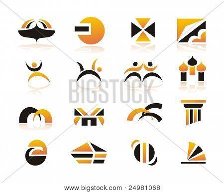 Set of logos or design elements.
