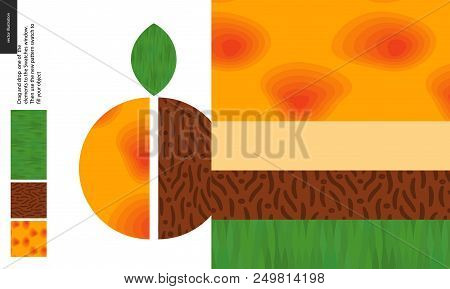 Food Patterns, Summer - Fruit, Apricot Texture, Half Of Apricot Image On Side - Four Seamless Patter