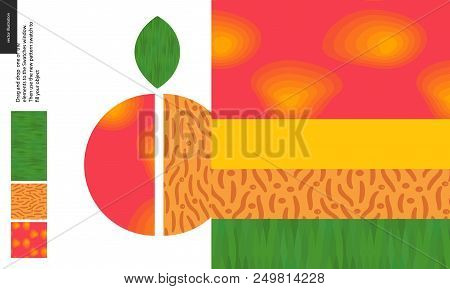 Food Patterns, Summer - Fruit, Peach Texture, Half Of Peach Image On Side - Four Seamless Patterns O