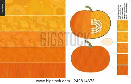 Food Patterns, Vegetable, Flat Vector Illustration - Pumpkin Texture - Small Cut Pumpkin, Seed Image