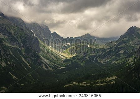 Peaks In Mengusovska Valley. Tatra Mountains. Slovakia