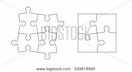 Set Of Black And White Puzzle Pieces Isolated On White Background. Vector Illustration