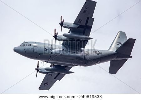 A Japanese Maritime Self Defense Force C-130 Hercules Cargo Transport Aircraft On Approach To Land A