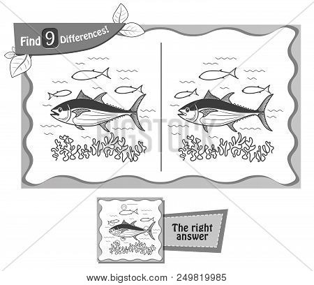 Find 9 Differences Game Black Tuna
