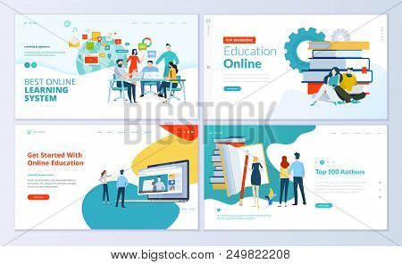 Set Of Web Page Design Templates For E-learning, Online Education, E-book. Modern Vector Illustratio