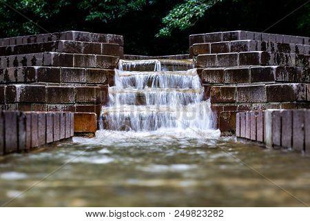 A Longer Exposure Shot Of A Cascade Fountain In Serigaya Park In Machida, Tokyo, Japan