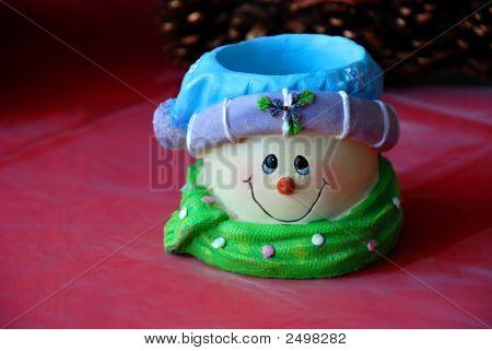 Happy Ceramic Snowman Smiling Face