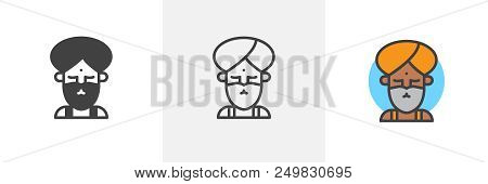 Fakir Circus Actor Icon. Line, Solid And Filled Outline Colorful Version, Outline And Filled Vector