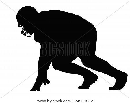 Silhouette American Football Player Ready Position for Scrimmage poster