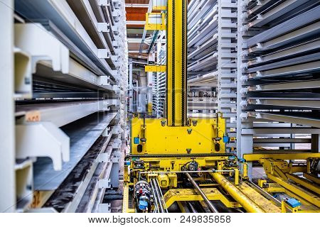 Close-up Of Fully Automated Warehouse System For Metal Products