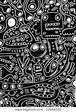 Crazy doodles animal freaks pattern