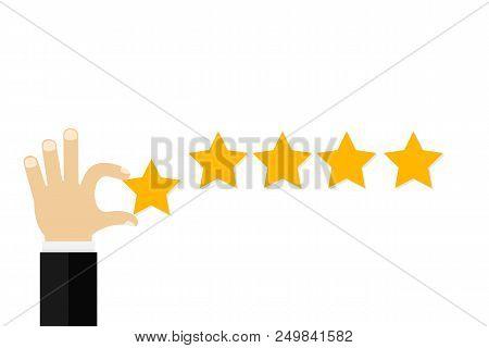 Businessman Hand Giving Five Star Rating, Feedback Concept. Vector Stock Illustration.