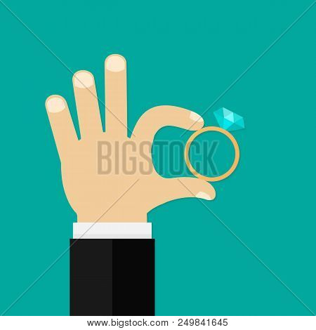 Male Hands Holding Engagement Ring. Vector Flat Style. Vector Stock Illustration.
